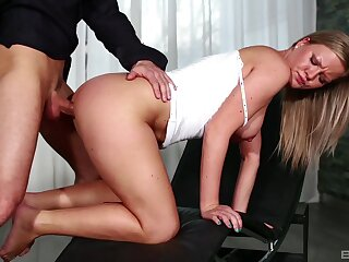 Elegant blonde bends for cock in a remarkable XXX tryout