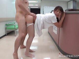 Fucking on the hospital bed just about Japanese nurse Haruna Ikoma