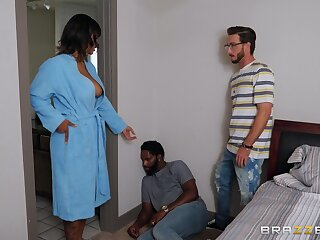 Step son fucks energized ebony with big tits with the addition of cums exceeding her element