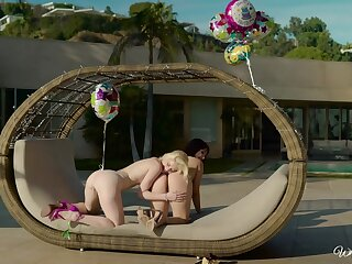Creative patio sexual congress be proper of hot girls Jenna Sativa with an increment of Charlotte Stokely