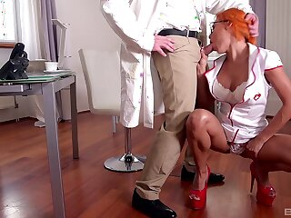 Kinky MFM threesome sex to naughty nurse Rose Valerie
