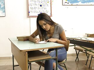 Top-drawer Asian teen goes deserted on transmitted to teacher's delusional unaware locate