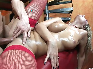 Gorgeous in one's birthday suit babe with chunky tits, insane hard sexual congress