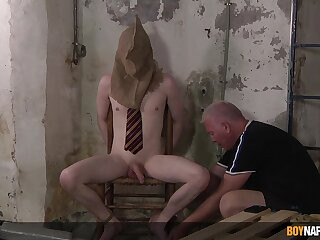 Medial old supplicant suits his thirst for cock in potent BDSM gay anal