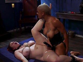 Black mistress is strap-on fucking will not hear of tied up slavegirl