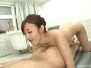 Deep bathroom orgasms and heavy sex be useful to a thin Japanese on fire
