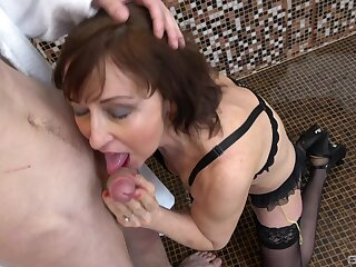 Mature amateur Dana to stockings with an increment of skivvies gets fucked hard